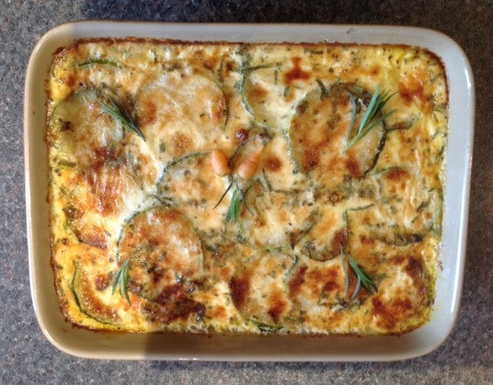 cooked carrot and courgette bake