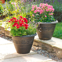 Set of 2 Planters + FREE Hanging Baskets
