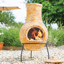Small Clay Yellow Chimenea