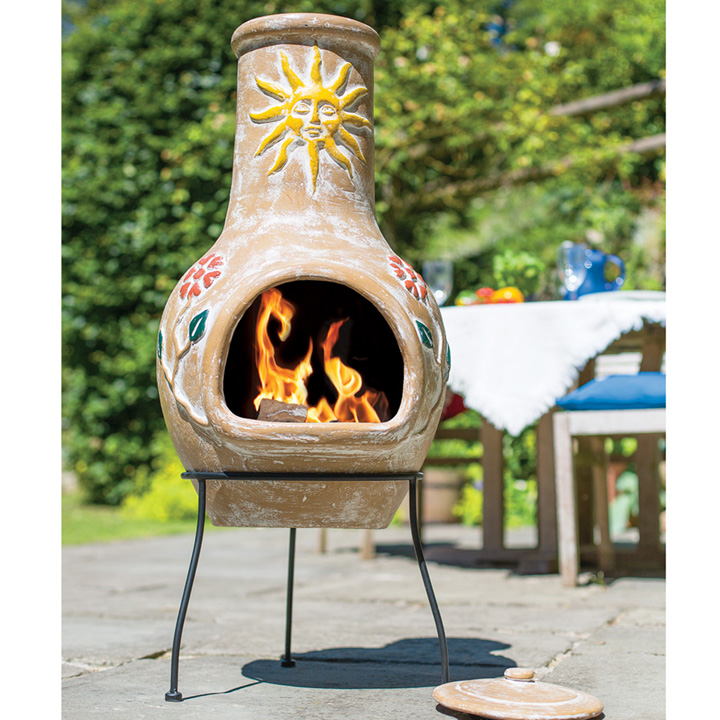 Large Sun & Flower Chimenea