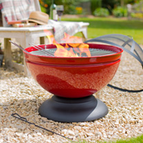Globe Red Firepit with Grill