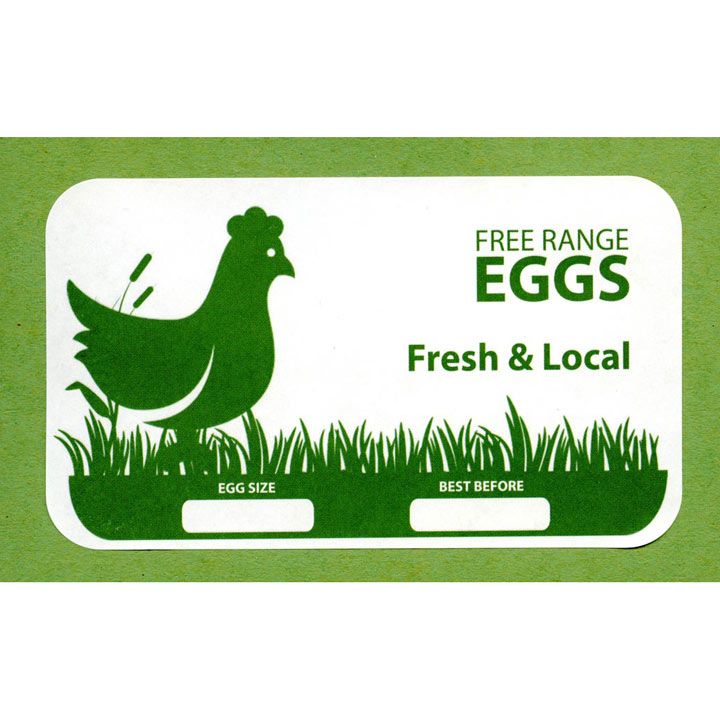 Egg Box Labels - Green Hen