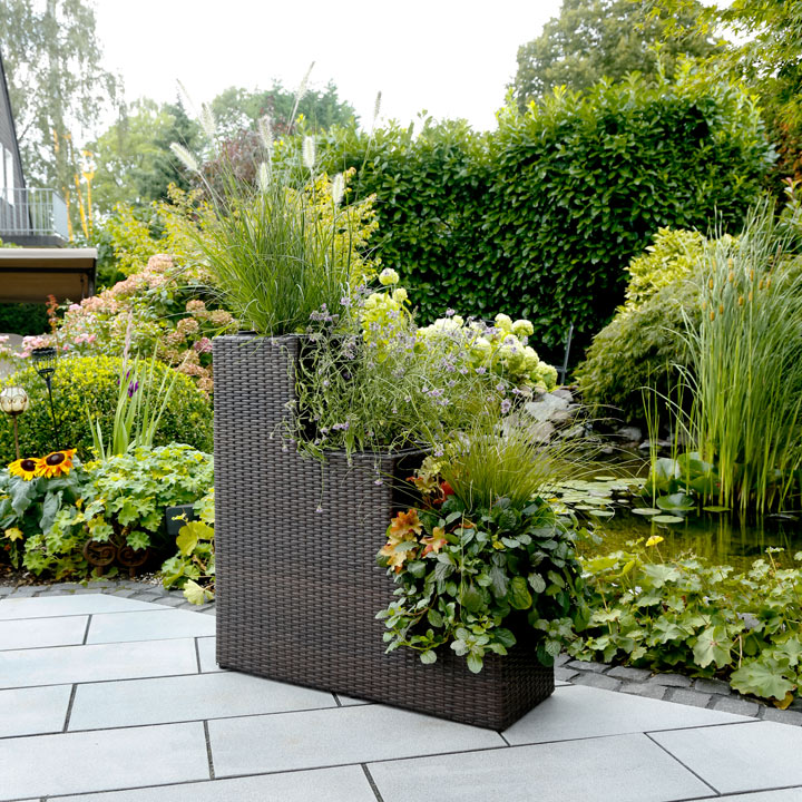 3-Stage Rattan Planter with Irrigation System