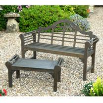 Lutyens Grey Bench & Matching Low Level Table