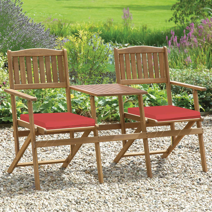 Foldable Duo Bench with Cushions