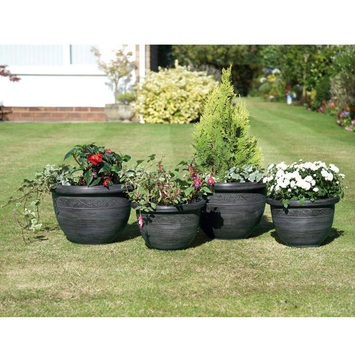 Gunmetal Grey Antique Style Planters