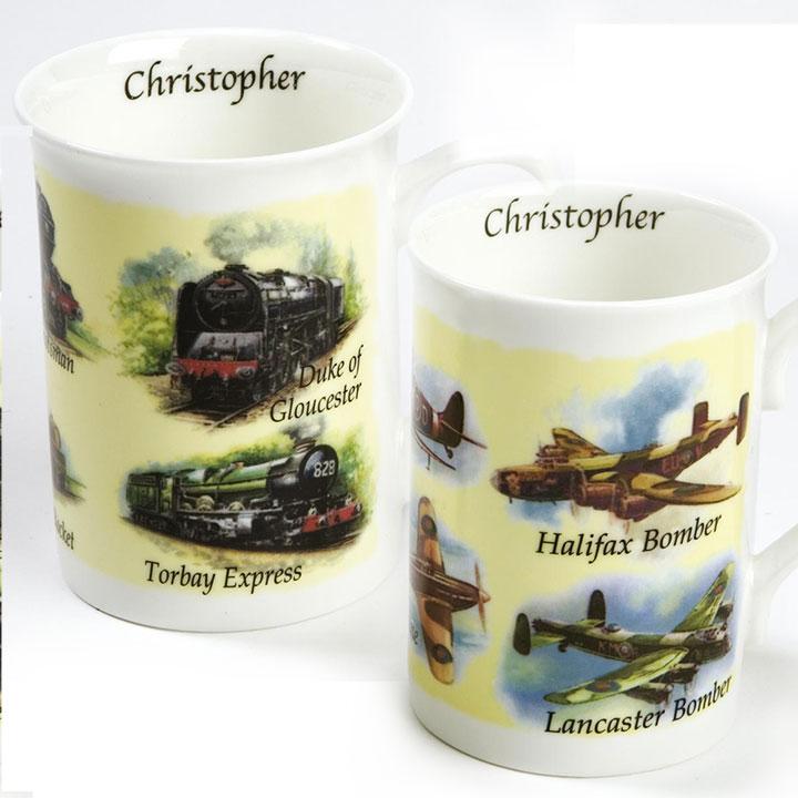 Personalised Mug - Train or Plane