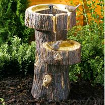 Tree Trunk Birdbath
