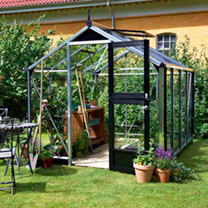 Compact Aluminium and Black Greenhouse and Base