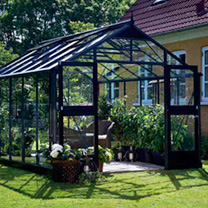 Anthracite & Black Premium Greenhouse & Base - 2.96m x 2.96m