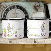 Enamel Gardeners Mugs - Man's and Lady's