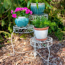 French Country Scroll 3 Tier Plant Stand
