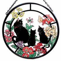 Glass Roundel - Black Cat