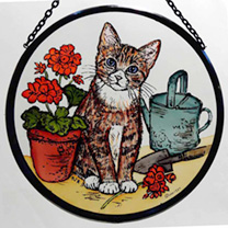 Roundel - Gardening Cat