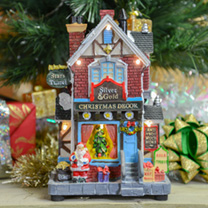 Create a colourful festive display with this traditional Christmas Shop. Illuminated by LED lights, this decorative light up house is a wonderful fun