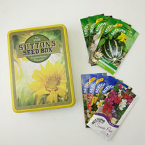 Yellow Seed Tin with Veg & Flower Seed Packets