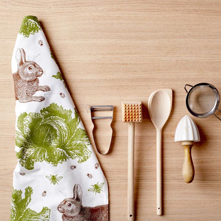 Rabbit & Cabbage Tea Towel
