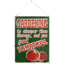 'Gardening is Cheaper than Therapy' Metal Sign