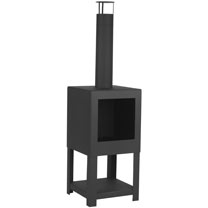 Square Black Terrace Heater With Wood Store