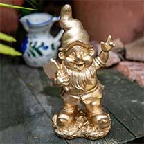 Gold Garden Gnome Duo