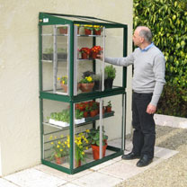 Image of Deluxe Mini Lean-To Greenhouse - Racing Green