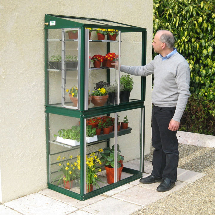 Deluxe Mini Lean-To Greenhouse - Racing Green