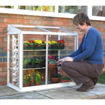 Image of Deluxe Half Mini Greenhouse - Arctic White