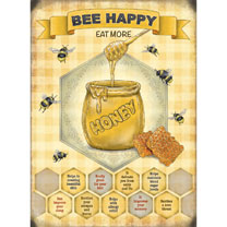 Image of Bee Happy Metal Sign