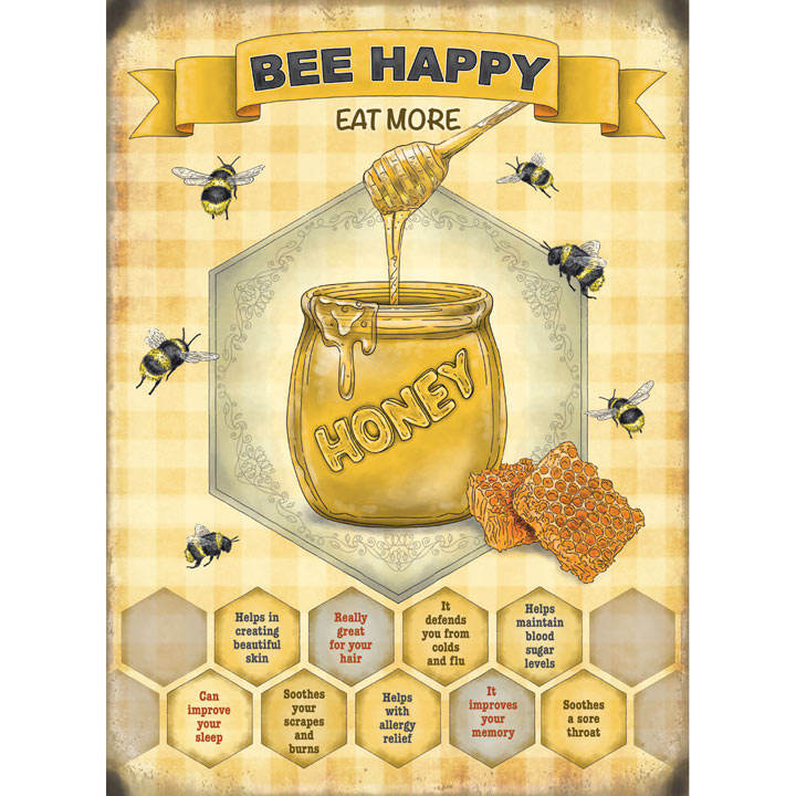 Bee Happy Metal Sign