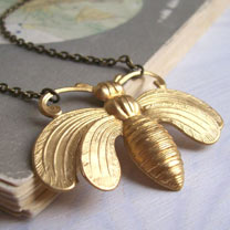 Image of Honey Bee Necklace - Gold-tone Brass
