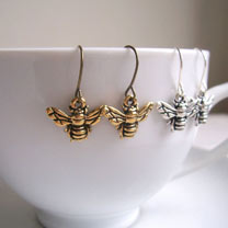 Bee Charm Earrings - Silver