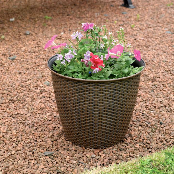 Rattan Effect Plant Pot Large - 2