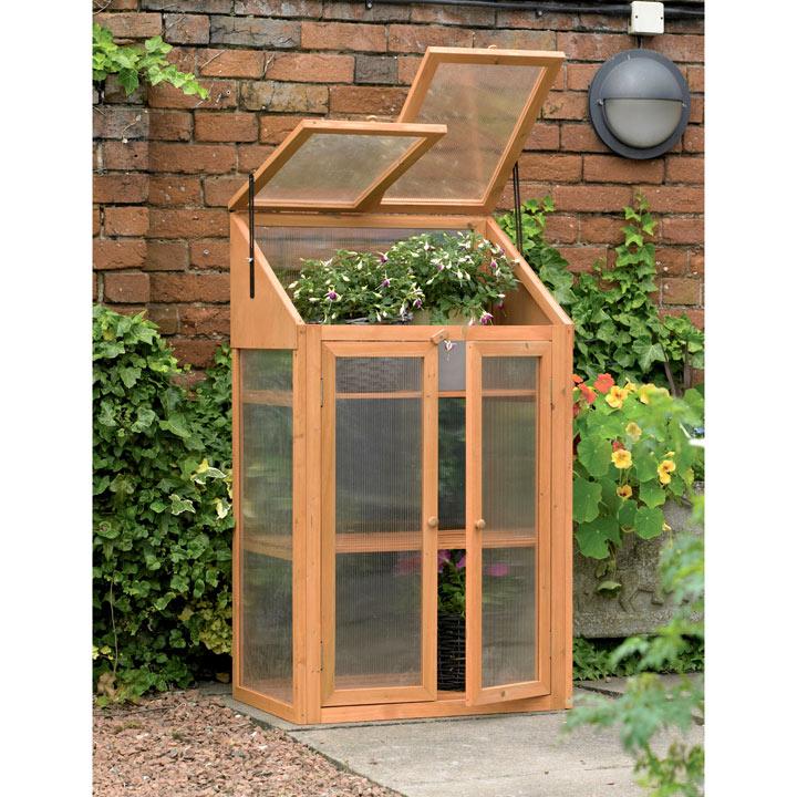Wooden Flat Back Mini Greenhouse