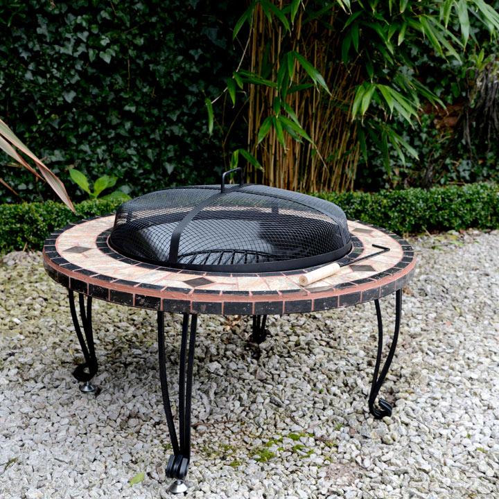 Round Mosaic Fire Pit