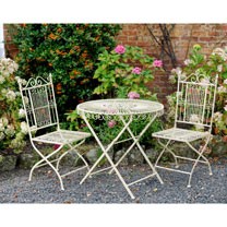 Old Rectory Round Table and 2 Folding Chairs - Cream