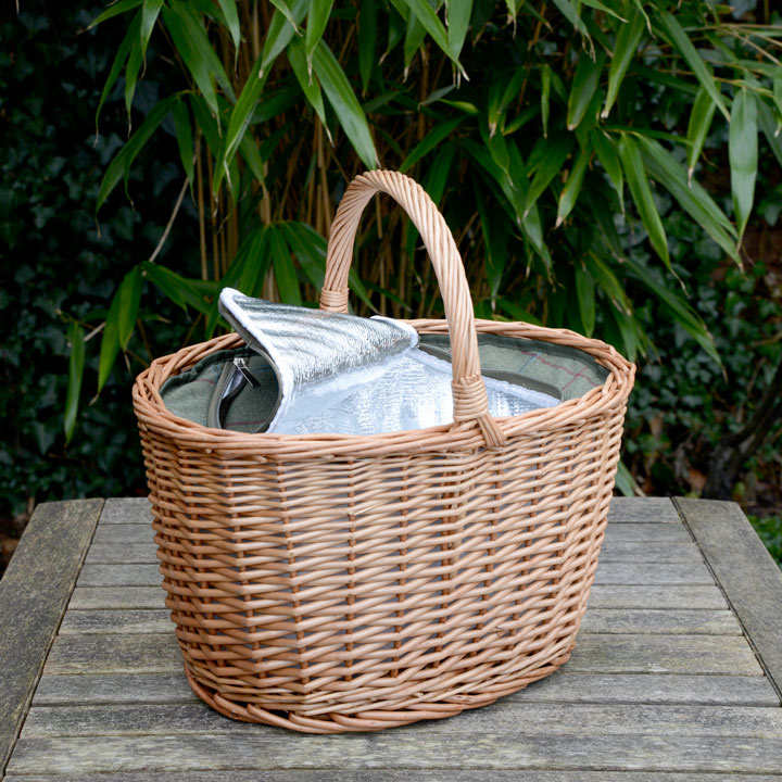 Oval Shopping Basket Tweed Cooler