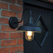 Matt Black Swan Neck Wall Lantern (Pair)