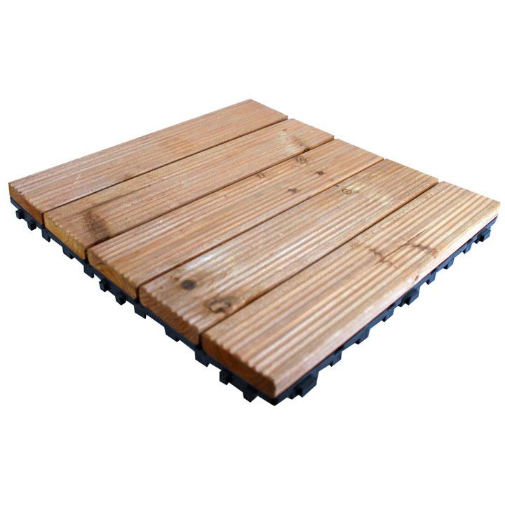 Wooden Deck Floor Tiles - Pack of 9