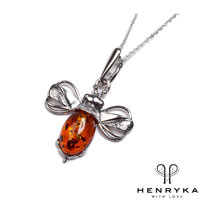 Miniature Bumble Bee Necklace in Silver and Cognac Amber
