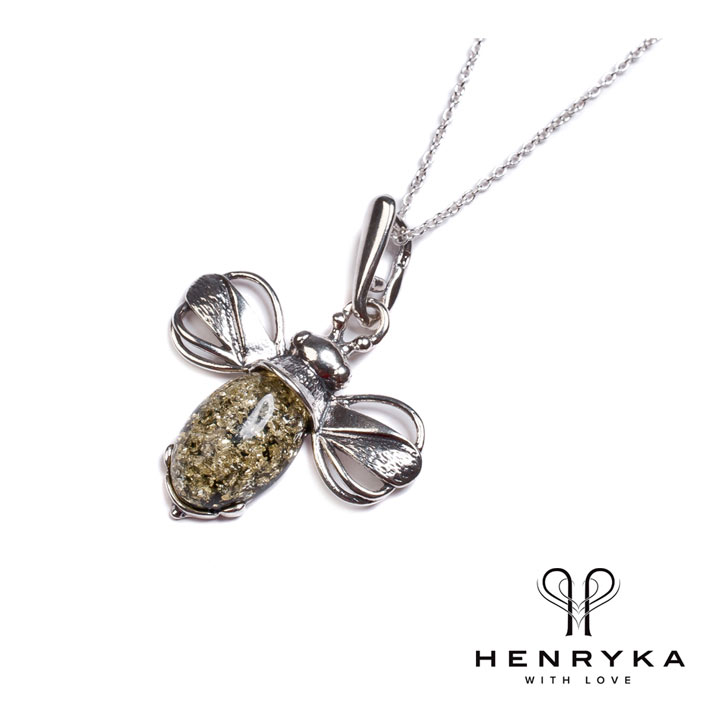 Miniature Bumble Bee Necklace in Silver and Green Amber