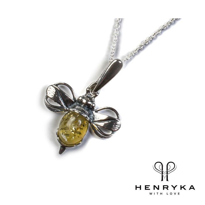 Miniature Bumble Bee Necklace in Silver and Yellow Amber