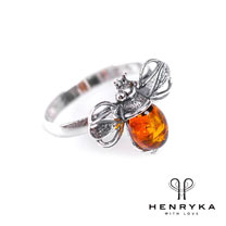 Image of Bumble Bee Ring in Silver and Cognac Amber