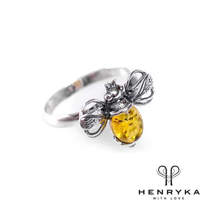 Bumble Bee Ring in Silver and Yellow Amber