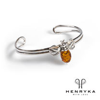 Image of Bumble Bee Bangle in Silver and Cognac Amber