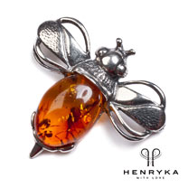 Image of Bumble Bee Brooch in Silver and Cognac Amber