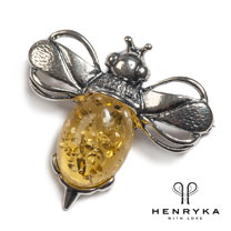 Bumble Bee Brooch in Silver and Yellow Amber