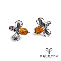 Image of Bumble Bee Cufflinks in Silver and Cognac Amber