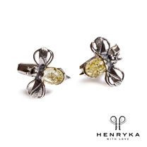Image of Bumble Bee Cufflinks in Silver and Yellow Amber