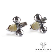 Image of Bumble Bee Cufflinks in Silver and Milky Amber