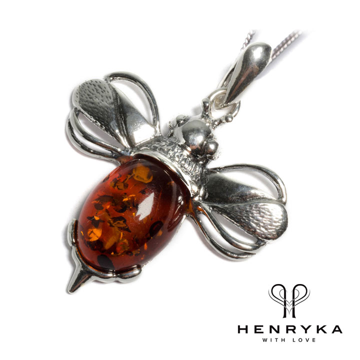 Large Bumble Bee Necklace in Silver and Cognac Amber
